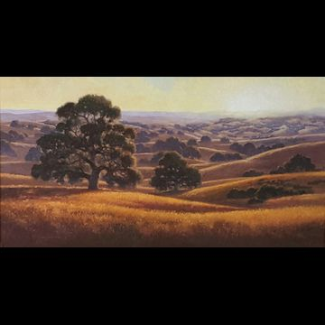 "Pacheco Sunset is an original oil painting by California artist Dave Sellers  framed in oiled walnut with a copper toned liner 56"" x 33 1/2"" framed size $6800"